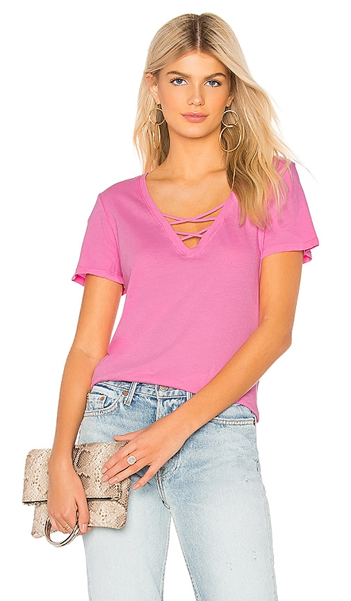 Bobi Light Weight Jersey Strappy V Neck Tee in Pink