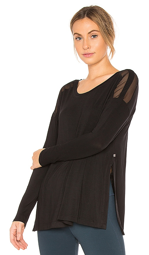 Body Language Slit Long Sleeve Top in Black