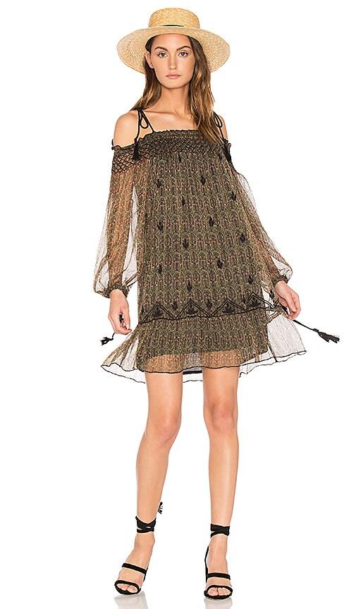 boemo Roma Off Shoulder Mini Dress in Green