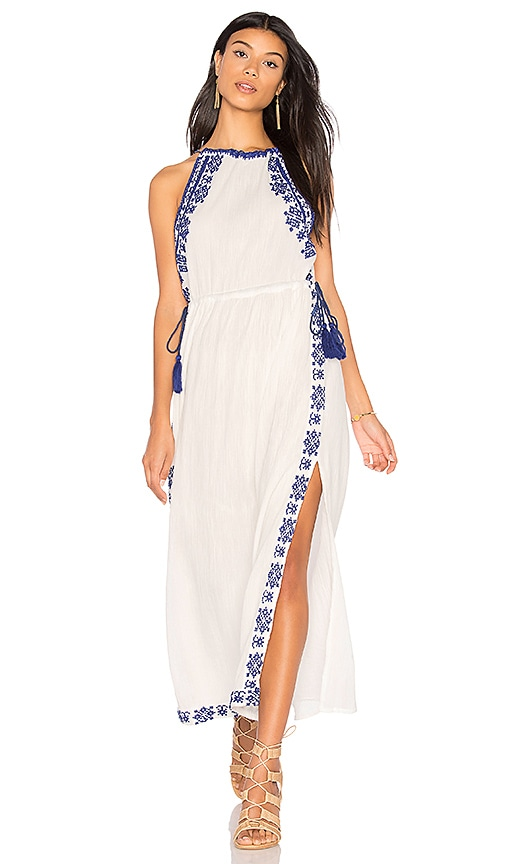 boemo Ancon High Neck Slit Maxi Dress in Ivory