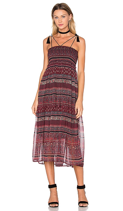boemo Bastille Smocked Tassel Maxi Dress in Wine
