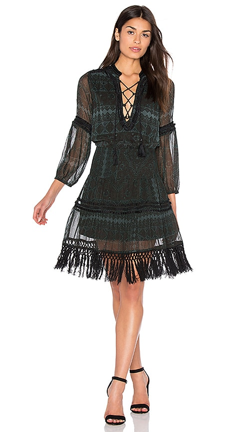 boemo Montaigne Fringe Mini Dress in Dark Green