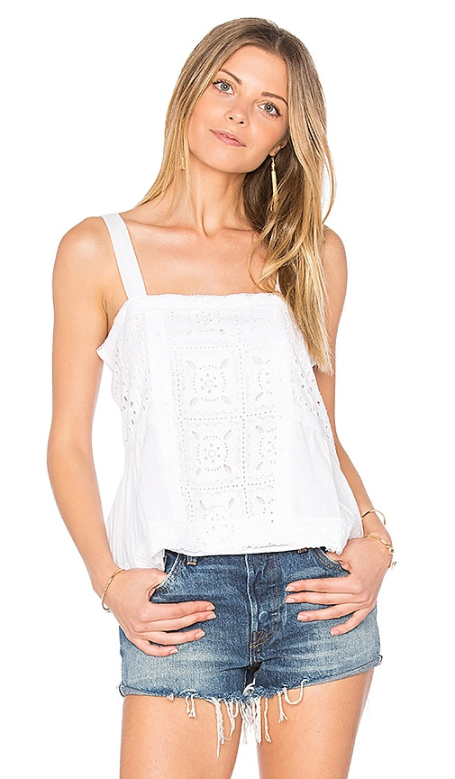 boemo Carmen Embroidered Tank in White