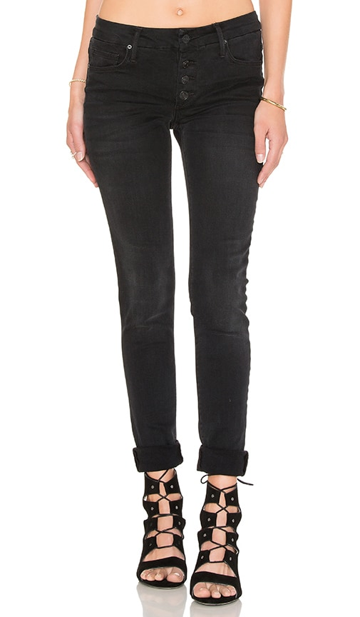 Black Orchid Candice Mid Rise Super Skinny in Obsidian