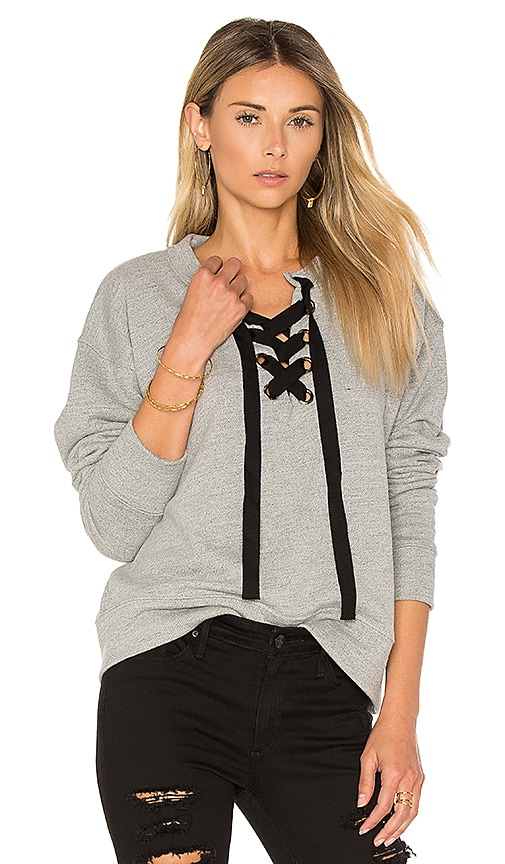 Black Orchid Lace Up Sweatshirt in Gray