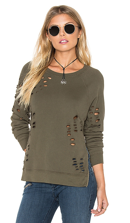 Black Orchid Side Zip Distressed Sweatshirt in Olive