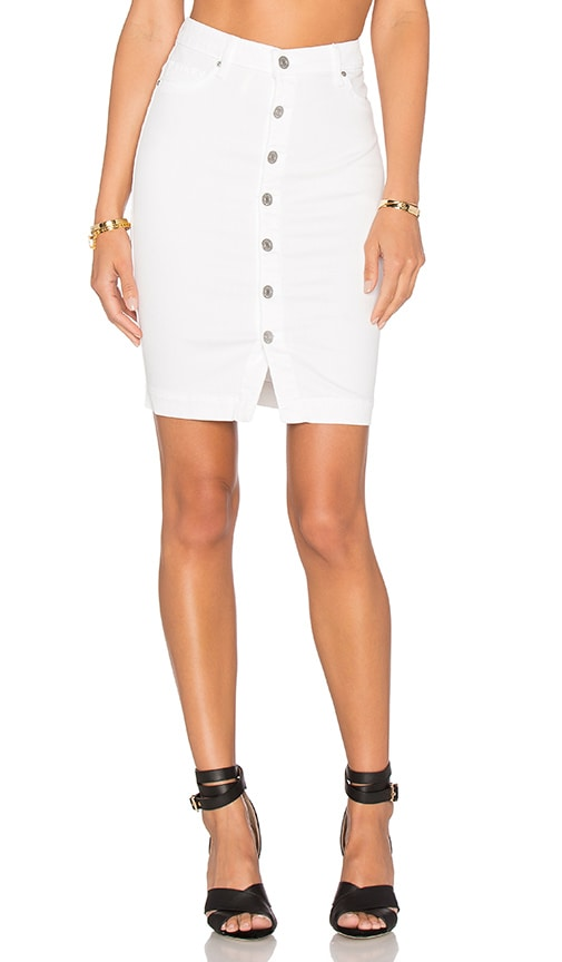 Black Orchid Button Front Pencil Skirt in White