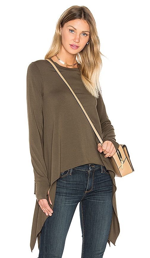 Black Orchid Thumbhole Crew Neck Tee in Olive
