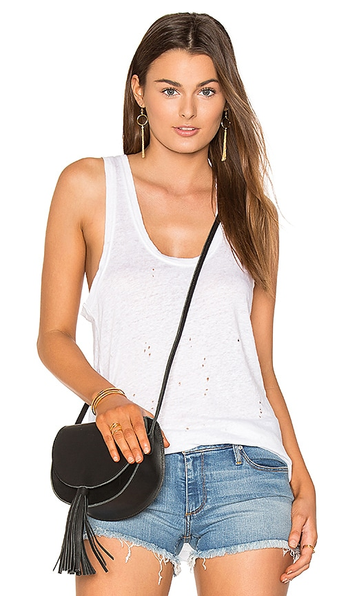 Black Orchid Distressed Tank in White