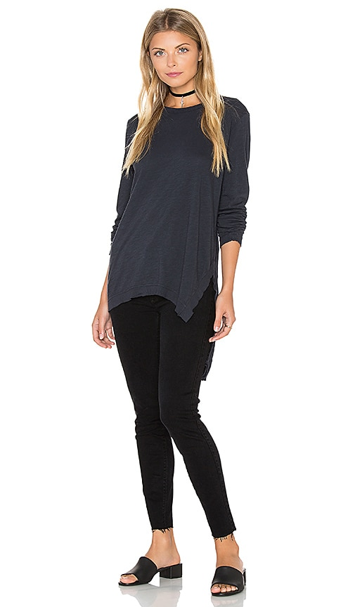 Black Orchid Long Sleeve Asymmetrical Top in Navy