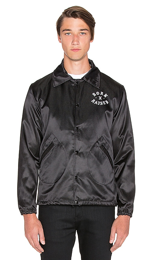 Born x Raised BXR x Ebbets Field Coaches Jacket in Black