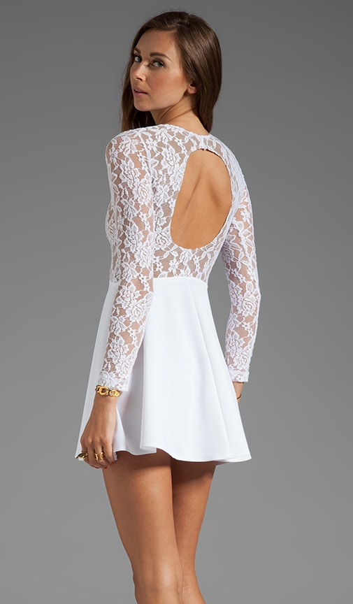 Boulee Avery Long Sleeve Dress in White Lace | REVOLVE