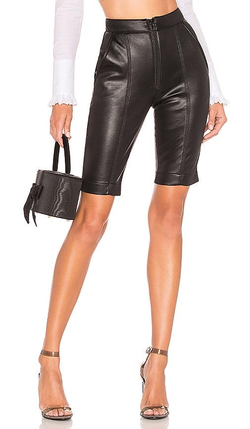 85201fa4cc BROGNANO Faux Leather Biker Short in Black | REVOLVE
