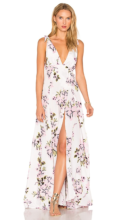 e60b5d69a22a BEACH RIOT Deep V Floral Gown in Pink Flower