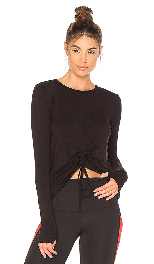 BEACH RIOT Cara Long Sleeve Top in Black