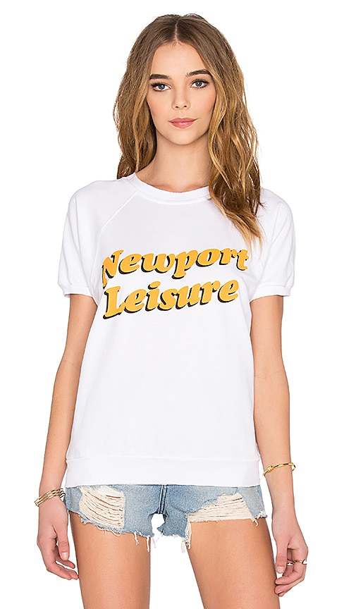 BEACH RIOT Newport Leisure Fleece Sweatshirt in White