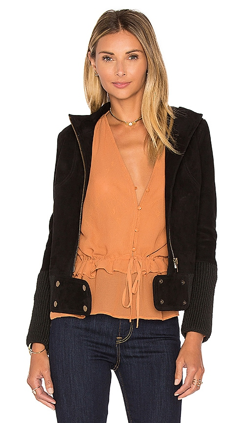 BEACH RIOT Azalea Suede Biker Jacket in Black