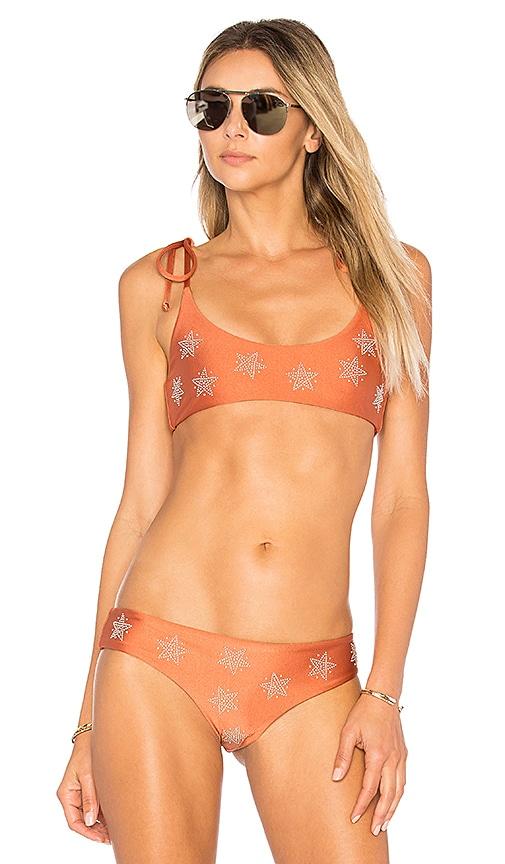 BEACH RIOT X REVOLVE Tori Bikini Top in Metallic Copper