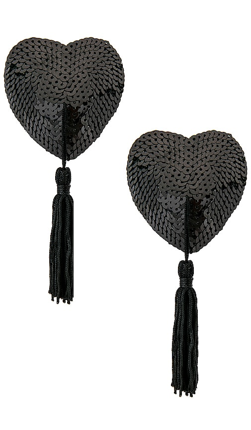 Black Sequin Hearts With Black Tassels