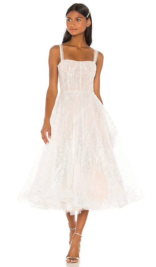 Mademoiselle Bridal Midi Dress Bronx and Banco $805 NEW ARRIVAL