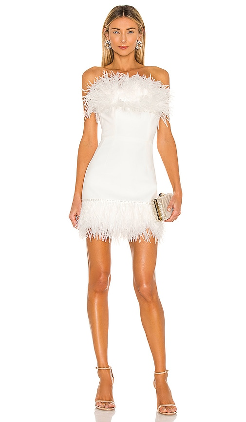 Lola Blanc Mini Feather Dress Bronx and Banco $650 BEST SELLER