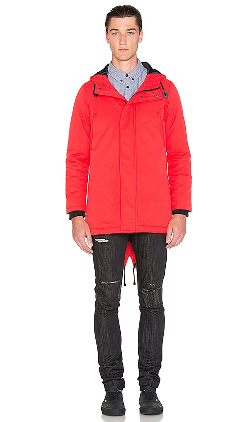 Black Scale Torpedo Jacket in Red