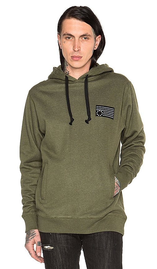 Black Scale Rebel Patch Hoodie in Olive