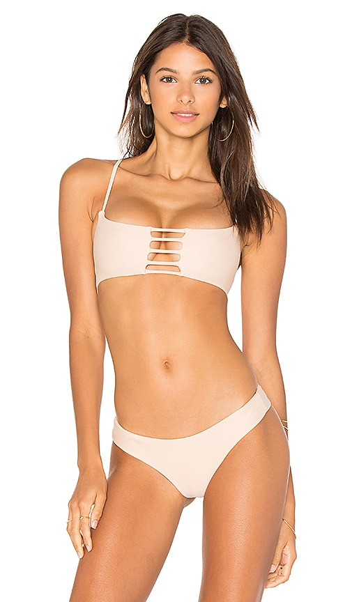 Bettinis Pull Over Bralette Top in Beige