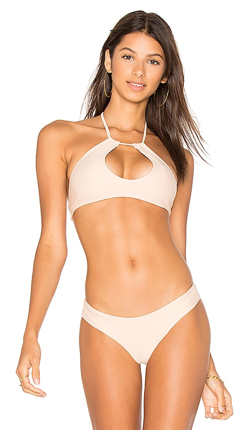 Bettinis Key Hole Halter Top in Beige