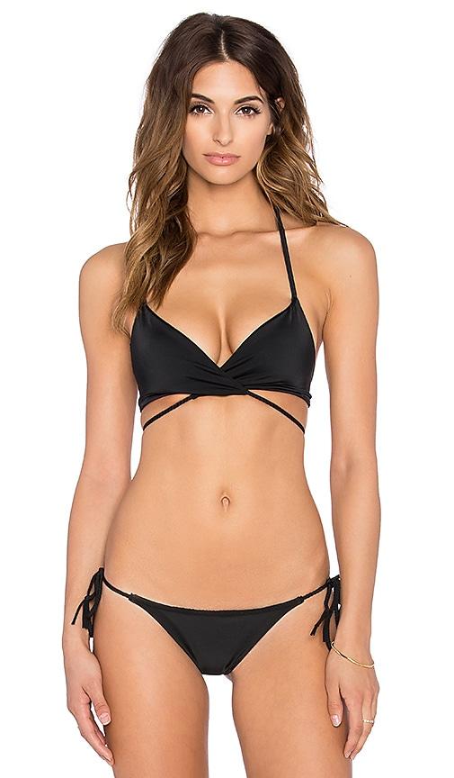Bettinis Braided Wrap Bikini Top in Black