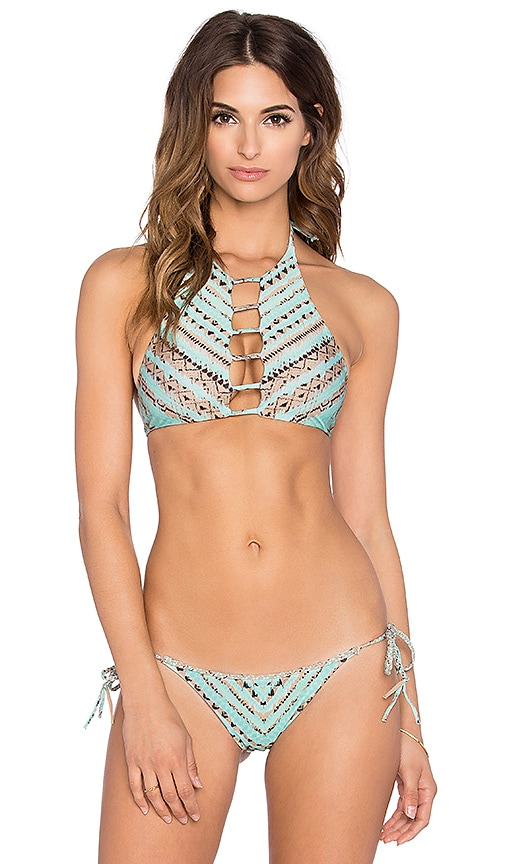 11fae266d4 Bettinis Reversible Strappy Halter Bikini Top in Tribal Mint