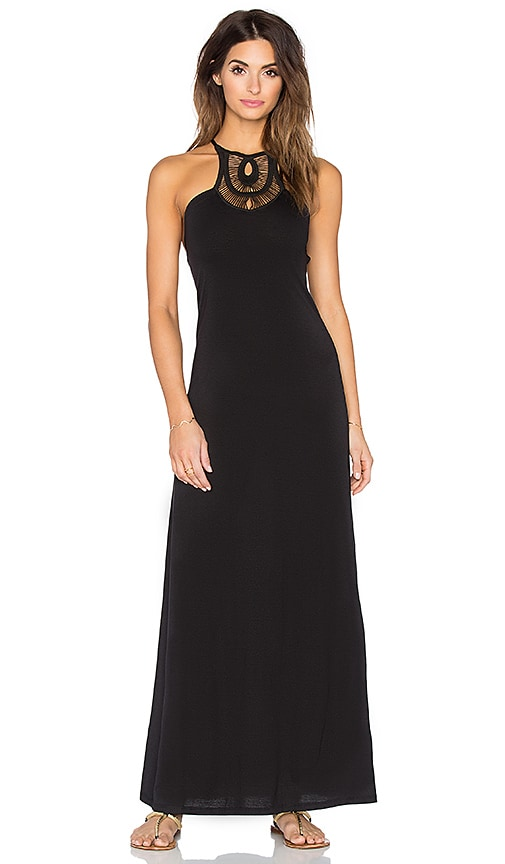 Bettinis Crochet Maxi Dress in Black