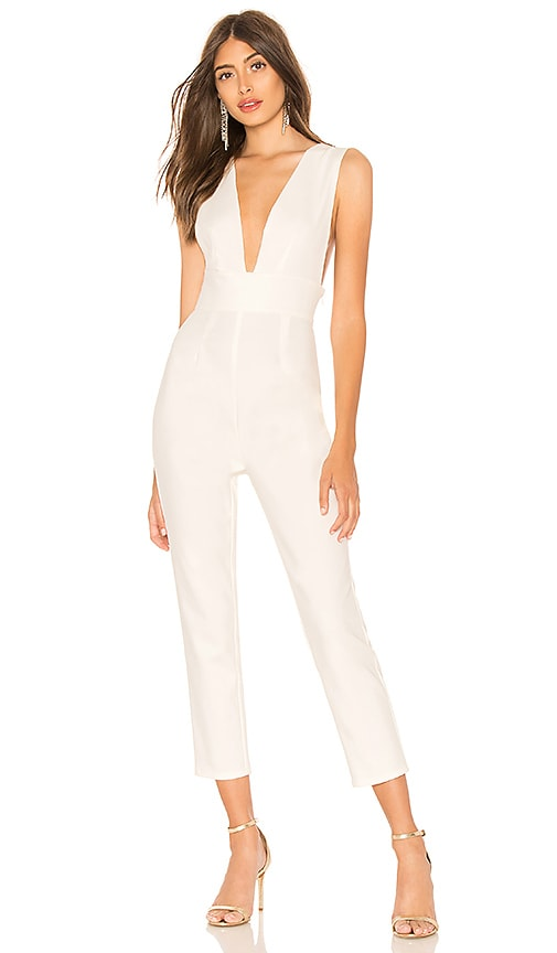 by the way. Gloria Deep V Jumpsuit in White