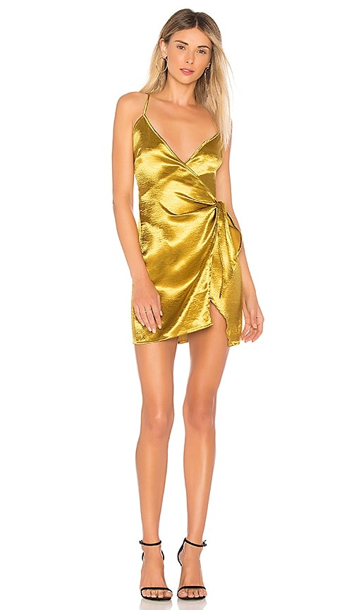 by the way. Desiree Tie Mini Dress in Gold