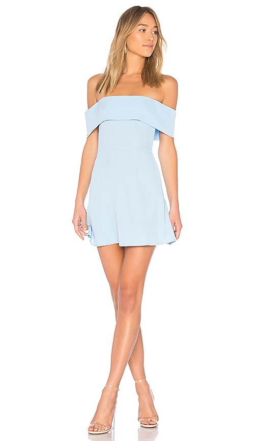 by the way. Aubrey Off Shoulder Dress in Baby Blue