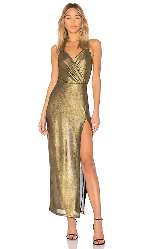 by the way. Jessa Maxi Dress in Metallic Gold