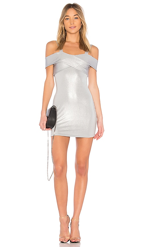 by the way. Evie Cold Shoulder Dress in Metallic Silver