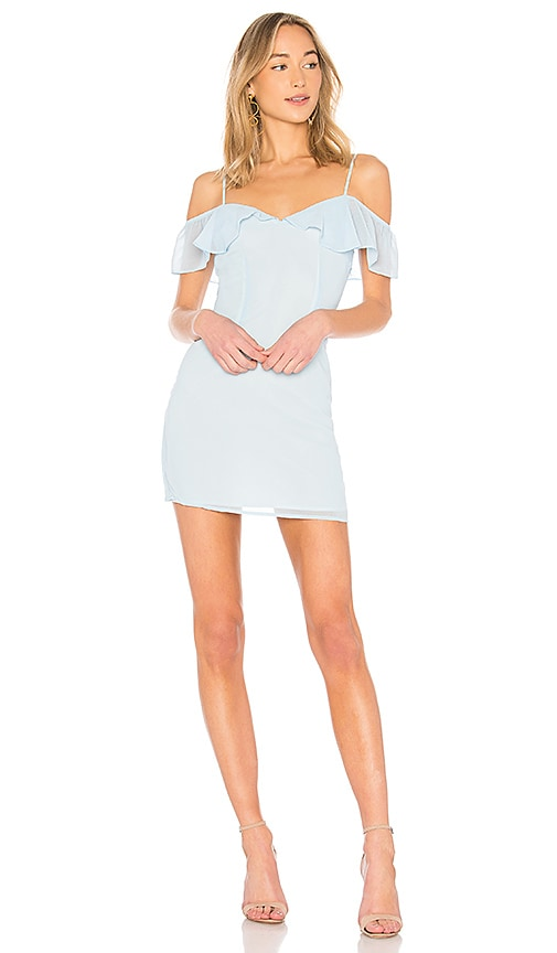 by the way. Celeste Off Shoulder Mini Dress in Blue