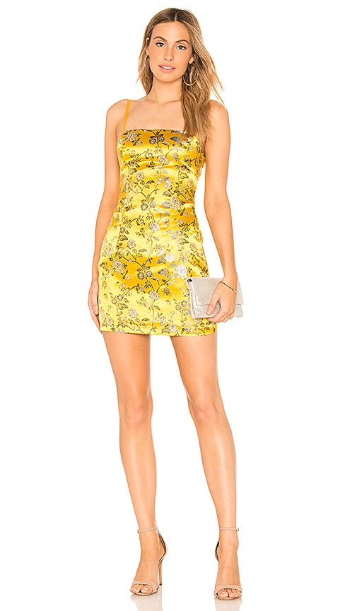 by the way. Amanda Floral Brocade Dress in Yellow