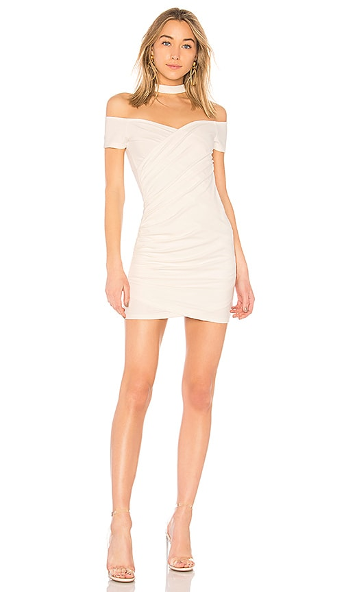 by the way. Cordelia Choker Ruched Dress in White