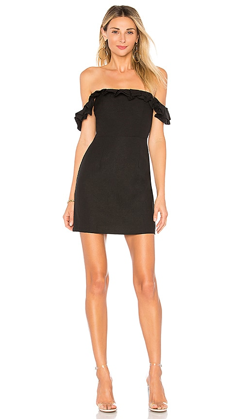 by the way. Emery Off The Shoulder Ruffle Dress in Black