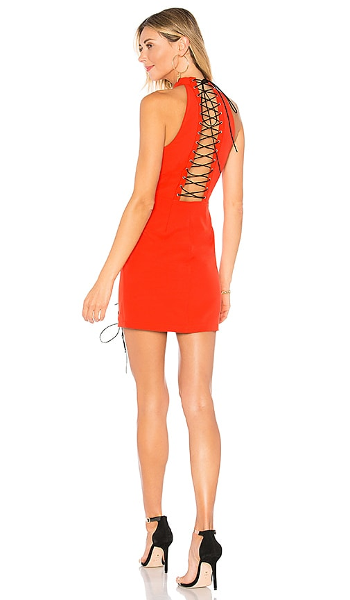 by the way. Valerie Lace Up Dress in Red