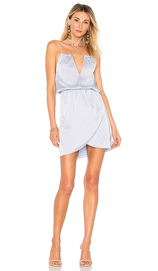 by the way. Kaylee Wrap Neck Dress in Baby Blue