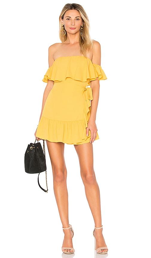 by the way. Jolene Ruffle Wrap Dress in Mustard