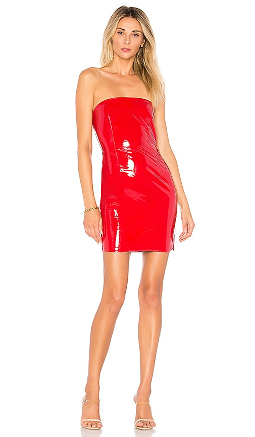 Hailee Patent Strapless Dress