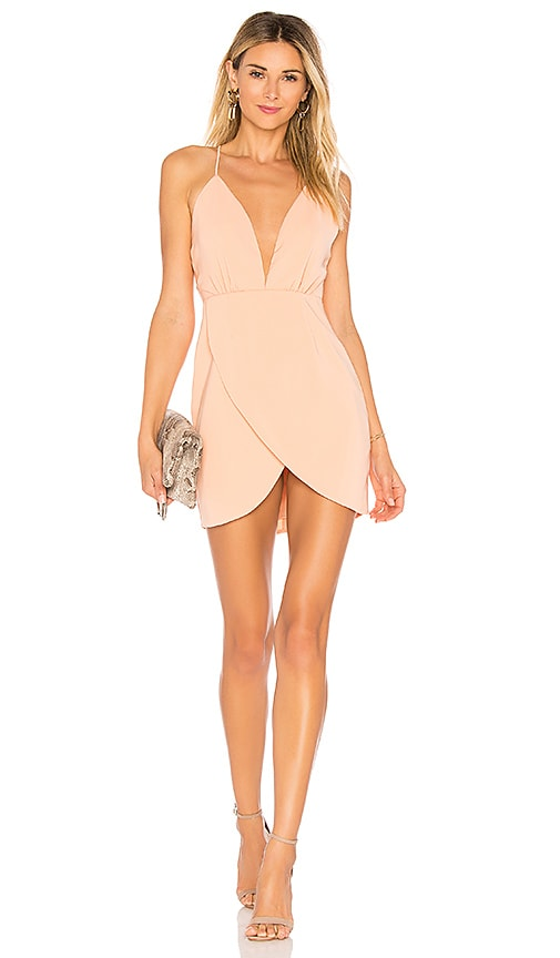 by the way. Vivian Deep V Dress in Blush