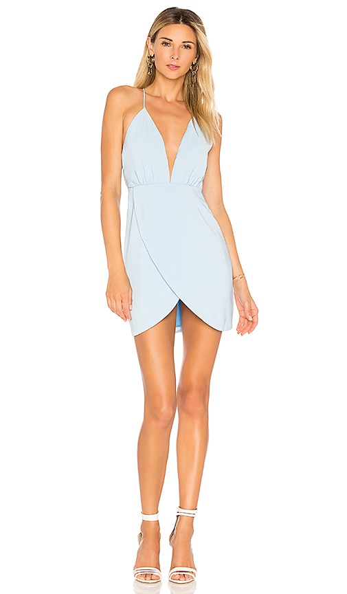 by the way. Vivian Deep V Dress in Baby Blue