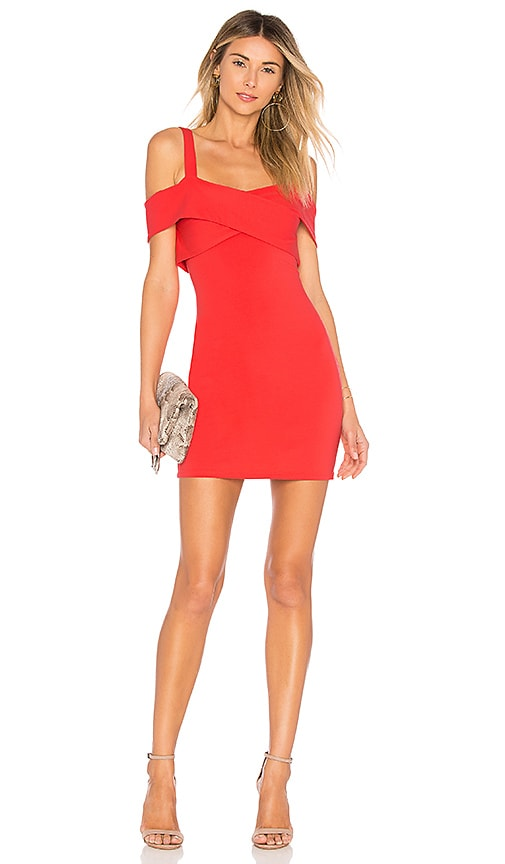by the way. Evie Cold Shoulder Mini Dress in Coral
