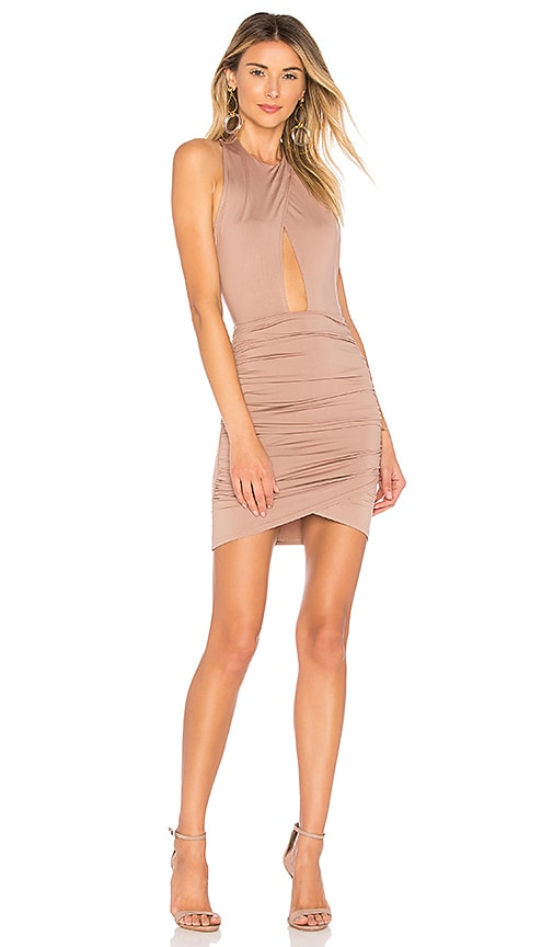 by the way. Lauren Ruched Cut Out Dress in Taupe