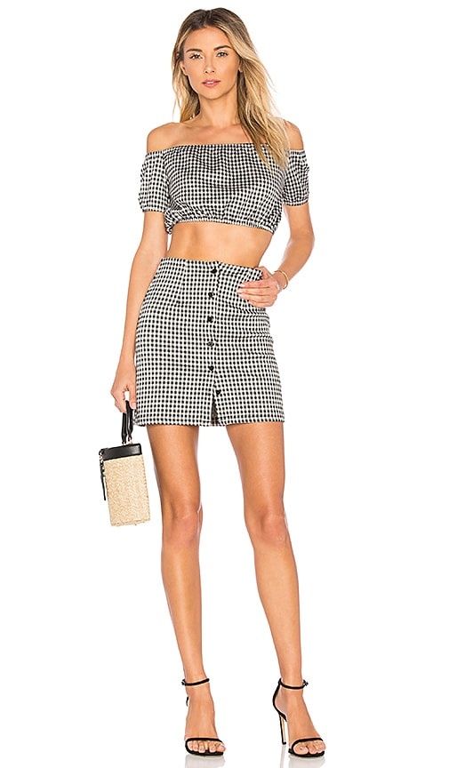 by the way. Judith Button Skirt Set in Black & White